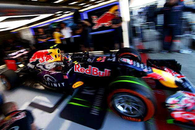Daniil Kvyat of Infiniti Red Bull Racing exits the garage. (Photo by Dan Istitene/Getty Images)