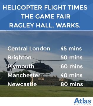 Helicopter flight times to The Game Fair at Ragley Hall, Warwickshire