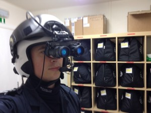 Graham Robinson with night vision goggles.