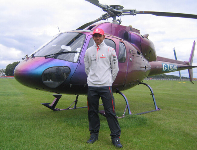 Lewis Hamilton's First Helicopter Flight to the British Grand Prix