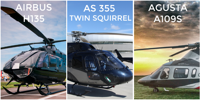 Three twin-engine helicopters