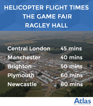 Helicopter flight times to The Game Fair Ragley Hall, Warwickshire