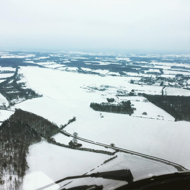 Lasham Airfield in the snow