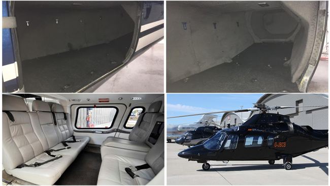 Luggage holds and cabin for the Agusta 109