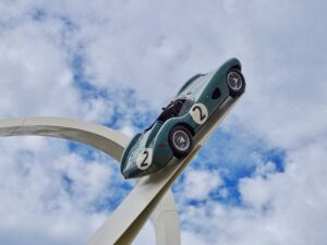 Blue toy race car at Goodwood Festival of Speed