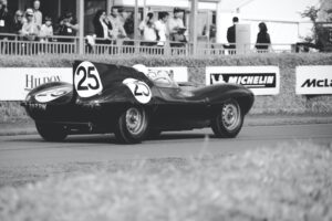 Greyscale image of racing car at Goodwood Festival of Speed